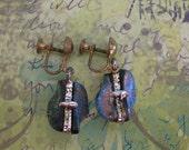 Vintage Iredescent Metallic Screw On Earrings