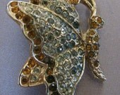 SALE!!!!Vintage Rhinestone Butterfly Pin Costume Jewelry