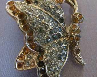 Vintage Rhinestone Butterfly Pin