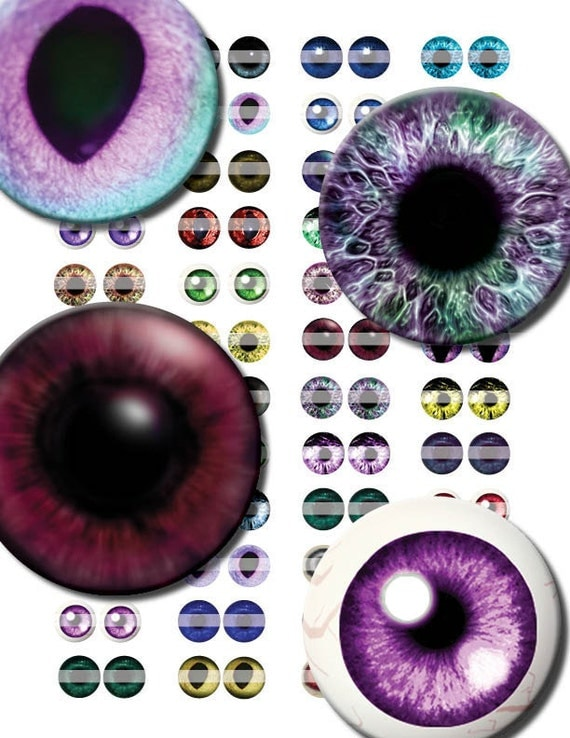 16mm Evil Eye Pairs Digital Collage Sheet Circles - doll eyes - taxidermy circles great for steampunk jewelry making and scrapbooking