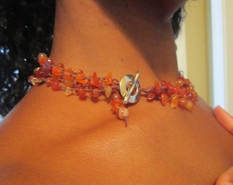 Ring of Fire - Carnelian and Hand-Knotted Linen Chakra Necklace