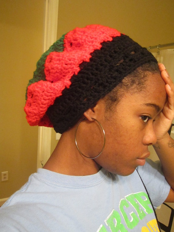 Empress Slouchy - Crocheted Ethnic Hat in Pan-African Colors