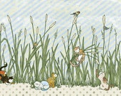 Cats in Cattails - Print