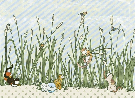 Catty Cats in Cattails - Print