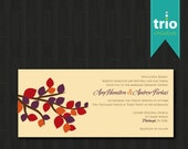 Branch Modern Leaves Leaf Fall Autum Wedding Invitation Special Event Invitation DEPOSIT