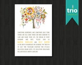 Whimsical Tree Flowers Modern Wedding Invitation Special Event Invitation DEPOSIT