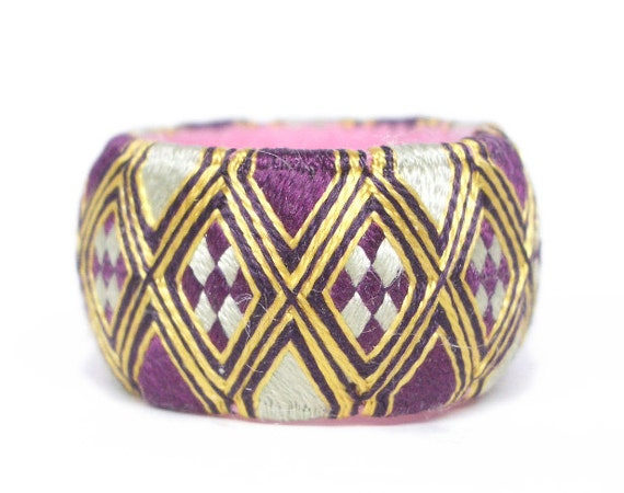 Yubinuki -Japanese traditional silk thimble- Diamond Purple
