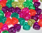 90 Glitter Rainbow Jelly Heart Beads Pony Bead