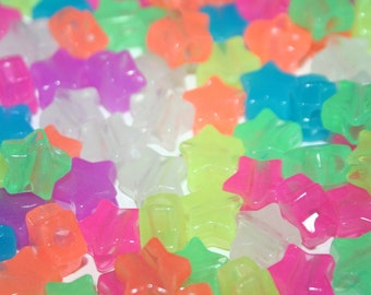 700 Glow in the Dark Star Beads in Rainbow