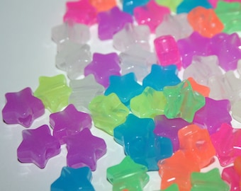 105 Glow in the Dark Star Beads in Rainbow