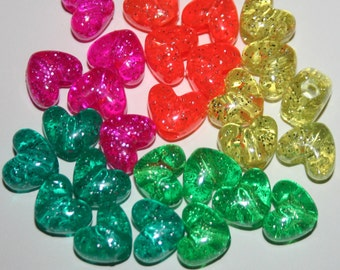500 Glitter Rainbow Jelly Heart Pony Beads