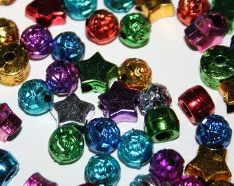500 Metallic Beads Star and Various Shapes in Rainbow Plastic