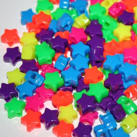 90 Neon Star Beads in Rainbow