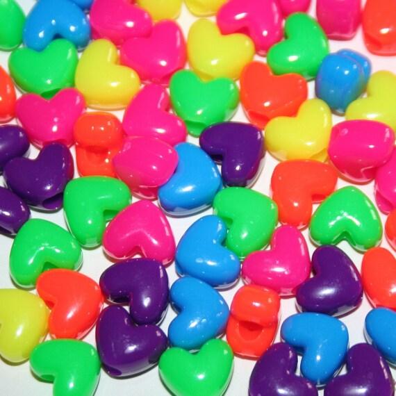 600 Neon Heart Beads in Rainbow