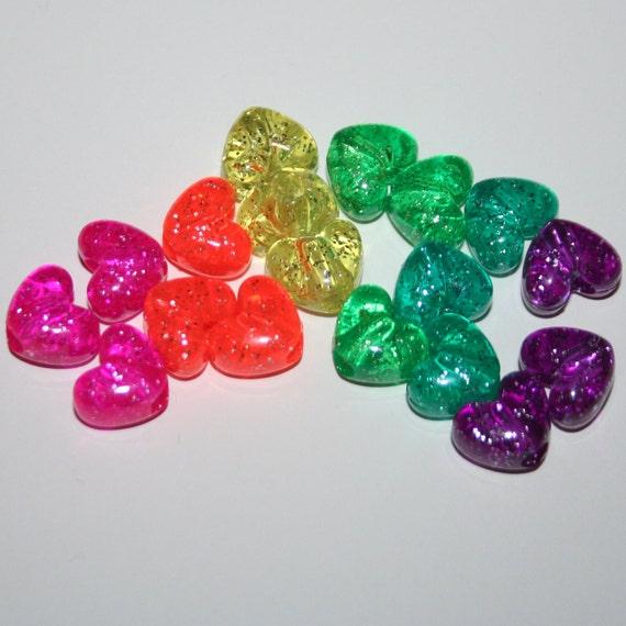 270 Glitter Rainbow Jelly Heart Beads