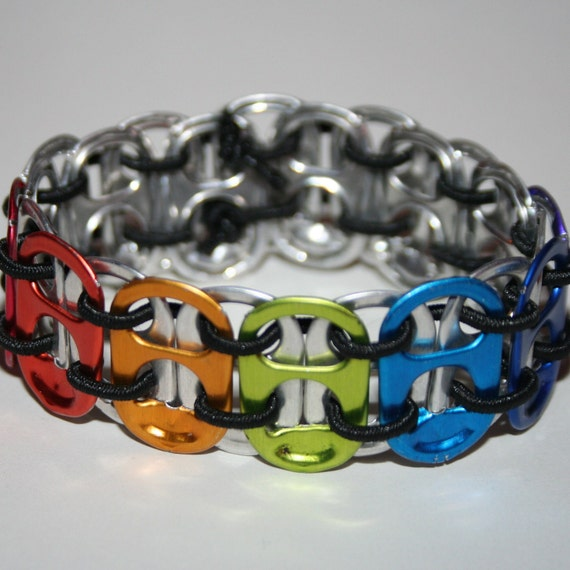 Rainbow Chakra Stretchy Pop Can Tab Bracelet