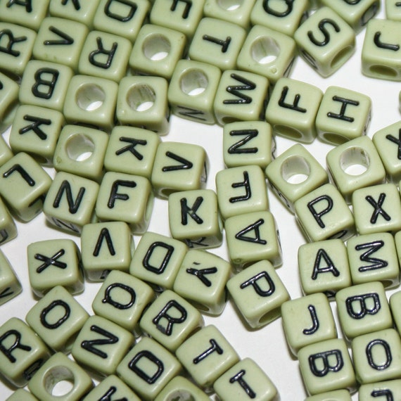 1000 Small Lime Green Cube Letter Beads