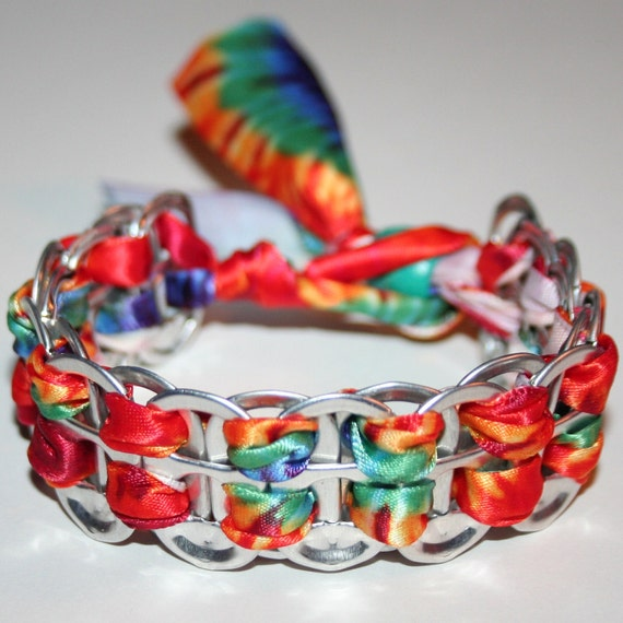 Thick Rainbow Tie Dye Pop Can Tab Bracelet