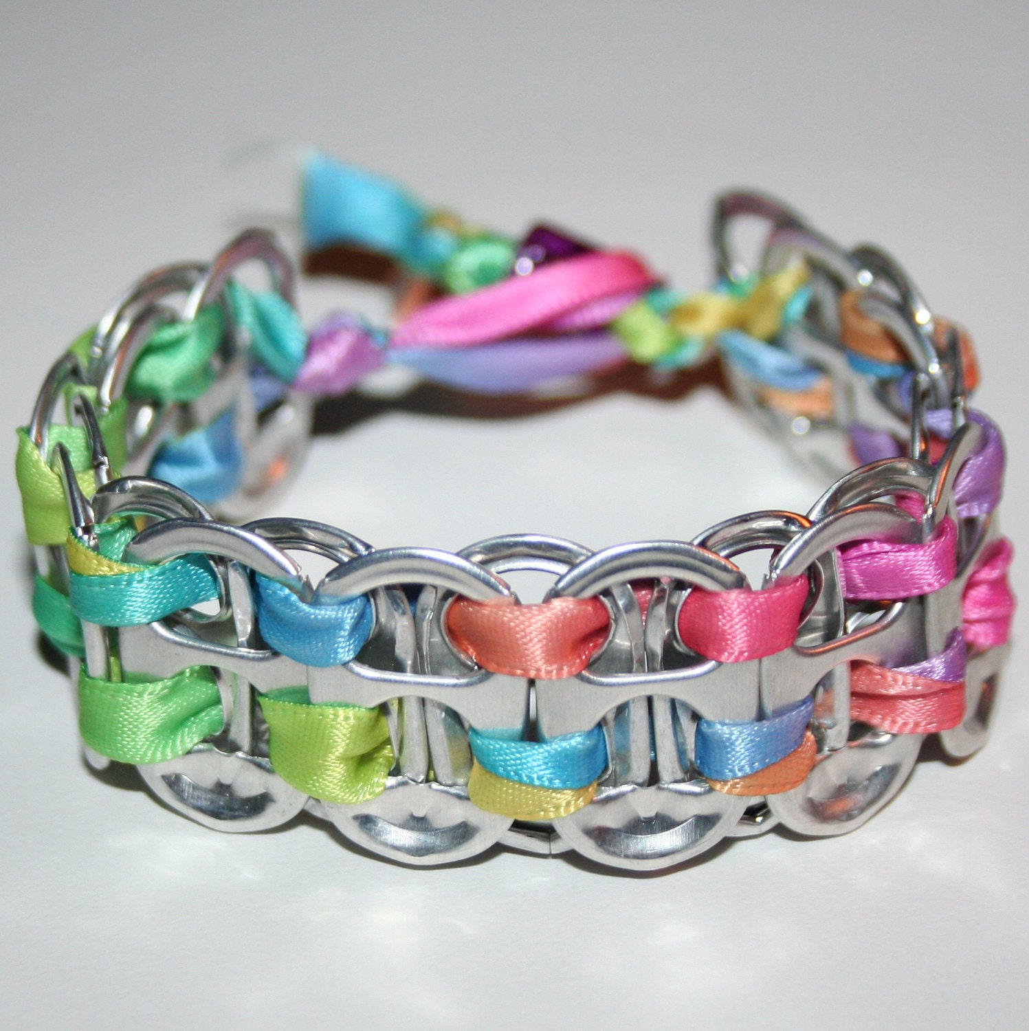 rainbow pastels pop can tab bracelet with bead by