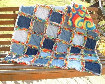 Denim Quilt,  Denim Rag Quilt, Upcycled Denim and Fleece Rag Quilt Throw Your Choice of Fleece CUSTOM ORDER