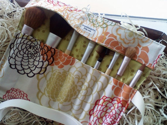 """Ready To Ship Makeup Brush Roll-up  """"Fresh Fushion"""" Fabric...  Makes A Great Gift"""