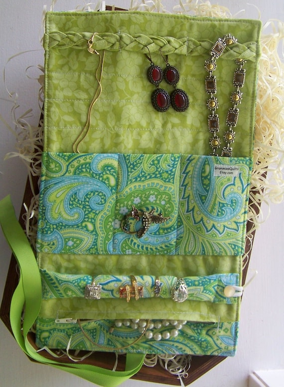 Items similar to travel jewelry roll travel jewelry for Diy travel earring holder