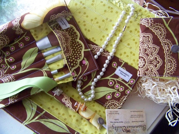 Grammies Bundle... Includes Jewelry Clutch, Make-Up Brush Roll, and Tea Wallet or Business Card Holder..