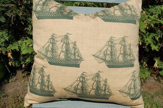 Pillow cover nautical ships 18 x 18 cushion throw pillow