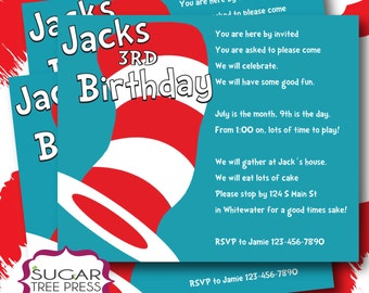 70-Dr Seuss Cat in the Hat Inspired Birthday Invitation