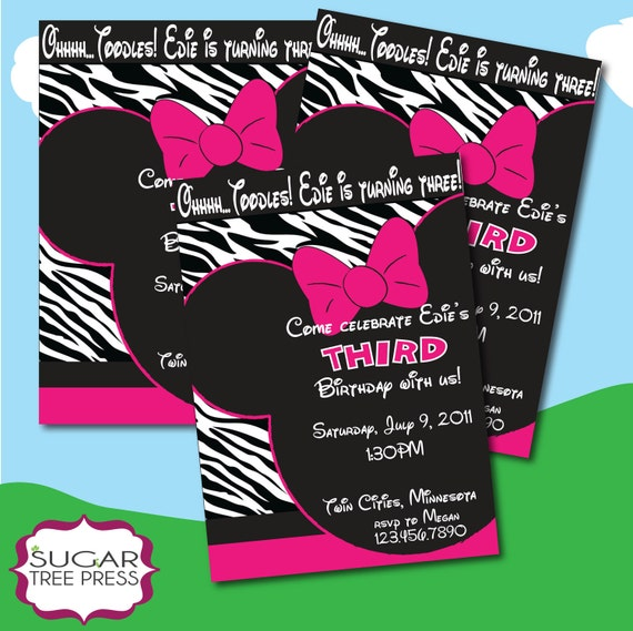 Printable - Minnie Mouse Zebra Print Inspired Birthday Invitation -  coordinating party favors available - You Print u - diy