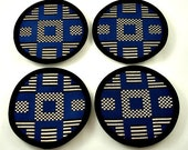 Coasters - Navy Blue, Black and Silver Cotton Blend Fabric (Set of Four)