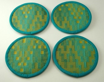 Round Fabric Coasters, Pixels Coasters, Wild Coasters, Fun Coasters, Mediterranean Blue and Marigold Cotton Blend Fabric (Set of Four)