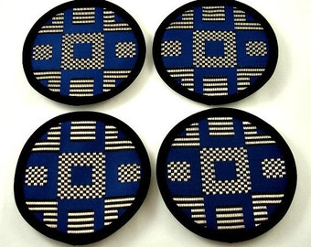 Classy Coasters, Shiny Blue Coasters, Modern Coasters, Stylish Coasters - Navy Blue, Black and Silver Cotton Blend Fabric (Set of Four)
