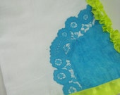 Bright Doily Towel- Tea Turquoise Yellow Kitchen Bathroom Hand