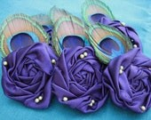 RESERVED FOR SALLY-Set of 6 Purple Peacock Feather Rosettes