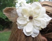 Ivory Flower with Natural Peacock Feather Hair Clip