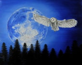 Night Owl - Original Owl and Moon Oil Painting