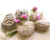 5 Nature decorated  river pebble stones, covered with vintage fabric lace motif, hand made.