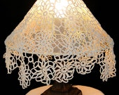 Lamp Shade - Big  white crochet with integrate fringes efect .