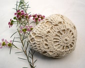 20% off-Nature decorated river pebble stone, covered with vintage crochet round motif, hand made by Mina