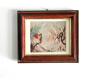 Embroidery  Picture Valantine's day gift , Wood frame, Holiday decor, Wall hanging Picture, Vintage Home wall Decor Japaness Style.
