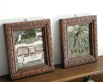 Set  Embroidery Landscape Pictures, Holiday gift idea, Holiday decor, Home decor, Wood Frame, Country wall decoration pictures