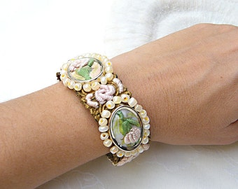 Bridal Bracelet, Wedding Cuff, Embroidered Floral Shabby Chic Jewelry, Vintage Style Romantic Cuff For Bride, Bridesmaids & Maid of Honor
