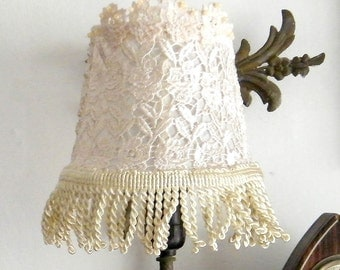 Fabric Lace Lampshade  Wall side lamp,  Shabby chic lamp home decor, Floral lamp, Rustic lighting, Side fabric lamp, Home and living