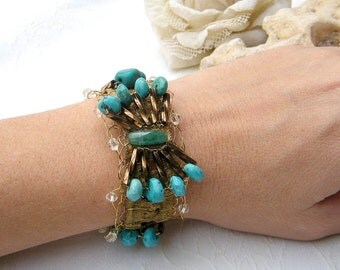 Bridal  Bracelet, Vintage  Style Romantic Cuff For Bride, Bridesmaid & Maid of Honor, Turquoise Work beads Bracelet,  Wedding Cuff ,
