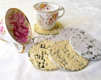 Shabby chic coasters, Crochet  Lace coasters, Home  Shabby chic Decor,  Antique lace coasters, Cup drink  Coaster, Holiday Decor,
