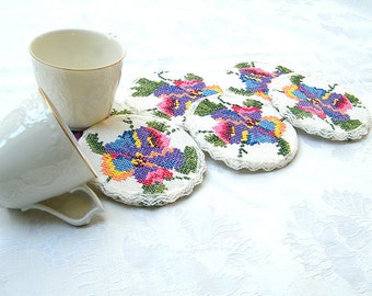 20% Off- Shabby chic coasters, Crochet  lace Coasters, Antique Embroidery Coasters, Home decor, Embroidery drink romantic  coasters.