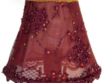 Reserved For Betsy Lace Lampshade Embroidery Bordeaux
