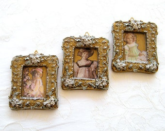 Wall  Decor Pictures -   3 Miniature hanging art  Pictures , Home Decor, Shabby chic Decor Dolls pictures, Gold wall  Art,