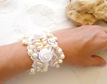 Wedding Cuff,  Romantic Wide Bracelet, Floral Bridal Jewelry, Vintage style Cuff made from Antique Lace, Embroidered Beads, Pearls & Roses